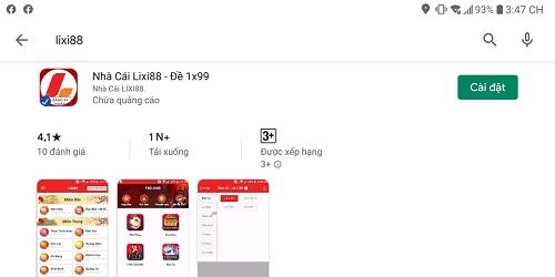 cài đặt lixi88 app